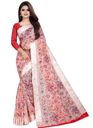 Partywear Designer Light Red Soft Linen Silk Saree