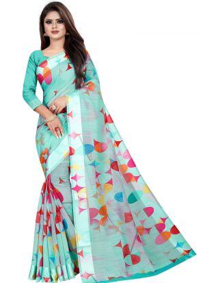 Partywear Designer Light Sky Blue Soft Linen Silk Saree