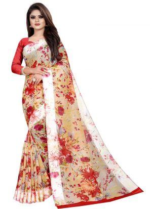 Partywear Designer Red Soft Linen Silk Saree