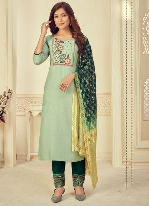 Pastel Green Rayon Printed Suit