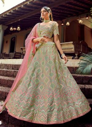 Pastel Green Resham Work Bridesmaid Special Lehenga