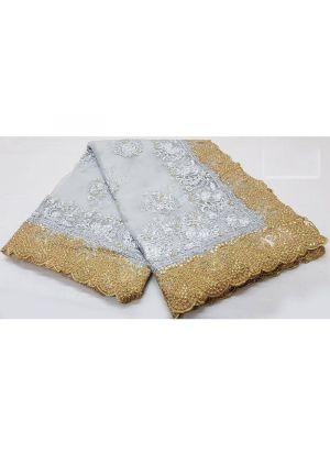 Pastel Silver Soft Net Pandadi Shining Stone Moti Work Designer Traditional Saree