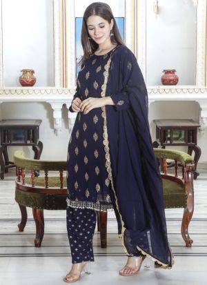 Patiala Style Printed Navy Blue Suit