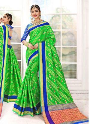 Patola Silk Light Green Latest Wedding Saree Collections