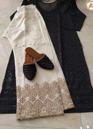 Pc Cotton Fancy Thread Work Palazzo Suit