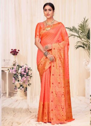 Peach Banarasi Silk Weaving Saree