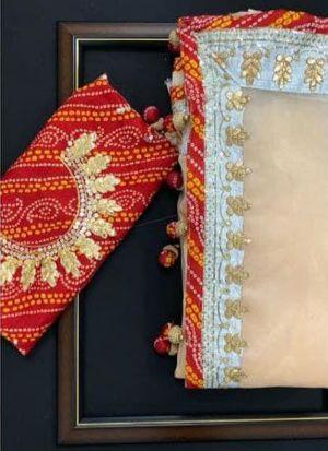 Peach Bandhani Print Organza Silk Saree