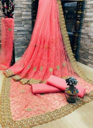 Peach Banglori Silk Moti Work Saree