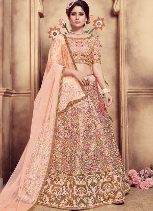 Peach Color Multi Rubber Foil Work Silk Designer Lehenga Choli