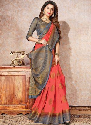 Peach Color Wedding And Party Wear Naylon Silk Saree