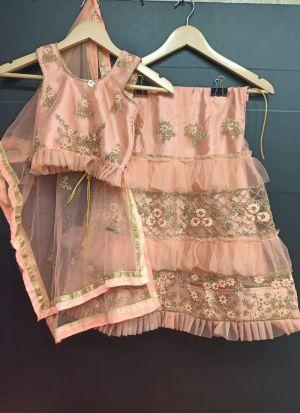 Peach Embroidery Attractive Net Frill Lehenga Choli For Kids