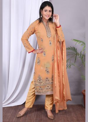 Peach Georgette Embroidery Work Suit