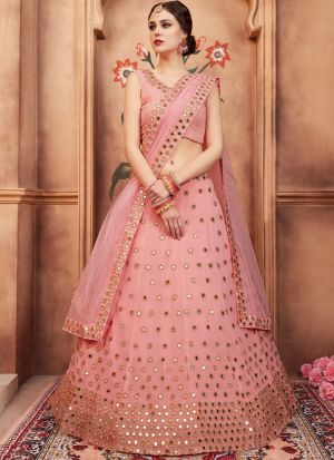 Peach Georgette Florals Vol 2 Designer Lehenga Choli