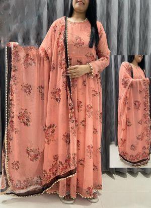 Peach Georgette Printed Long Suit