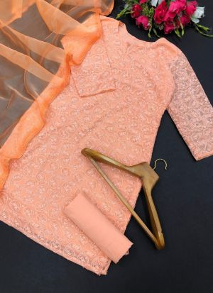 Peach Georgette Sequence Salwar Suit