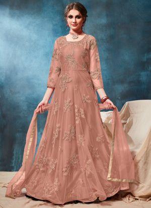 Peach Net Designer Floor Length Anarkali Suit
