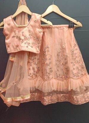 Peach Net Frill Embroidered Party Wear Kids Lehenga Choli