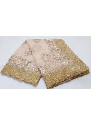 Peach Pandadi Shining Stone Traditional Soft Net Saree