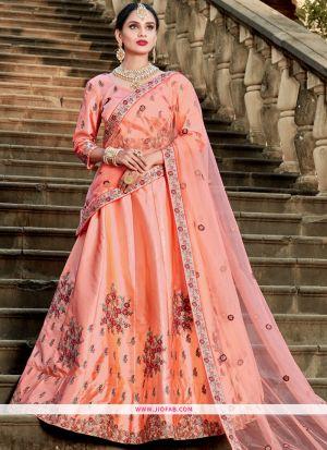 Peach Resham Embroidery Designer Lehenga Choli