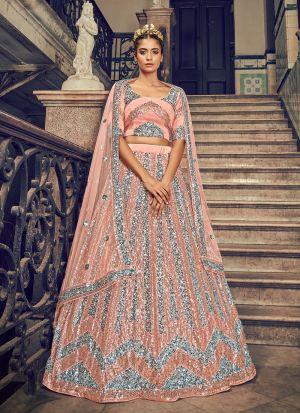 Peach Sequence Embroidery Lehenga Choli For Wedding