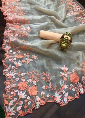 Peach Shaded Multi Thread Work Saree