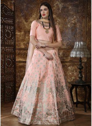Peach Thai Silk Designer Lehenga Choli