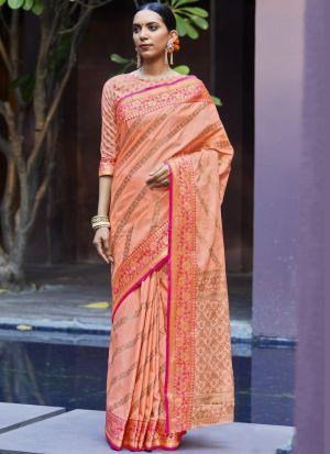 Peach Weaving Work Silk Saree