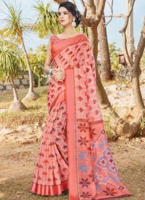 Peach Women Wedding And Partywear Cotton Saree