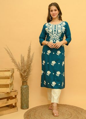 Peacock Blue Embroidery Work Suit