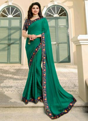 Peacock Green Printed Vichitra Silk Designer Saree