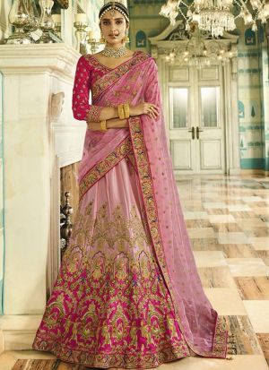 Pink And Light Pink Naylon Silk Designer Lehenga Choli With Thread Work SN 153