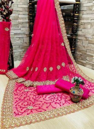 Pink Banglori Silk Diamond Work Saree