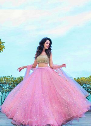 Pink Butterfly Mono Net Latest Design Thread Work Lehenga Choli