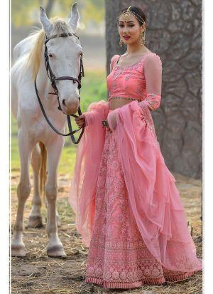 Pink Butterfly Net Designer Lehenga Choli