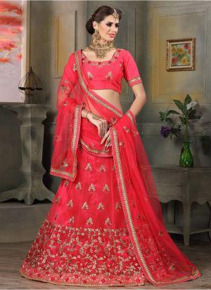 Pink Color Net Indian Wedding Lehenga Choli