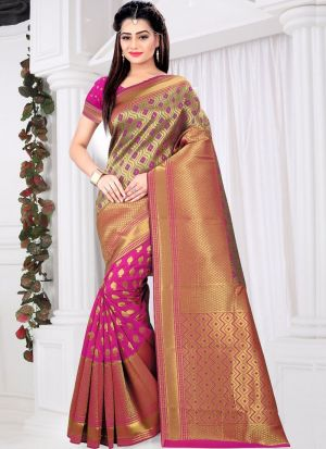 Pink Color Traditional Minakari Lichi Silk Saree With Heavy Pallu