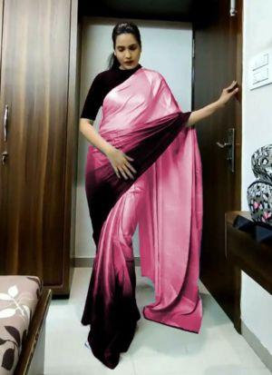 Pink Duchess Satin Digital Printed Saree