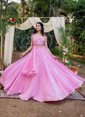 Pink Flawless Sequence Work Lehenga