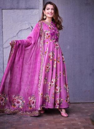 Pink Flower Printed Anarkali Gown