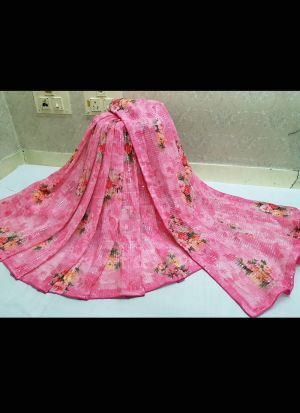 Pink Georgette Digital Printed Saree