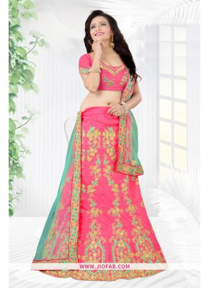 Pink Heavy Bangalore Silk Chaniya Choli