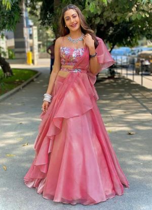 Pink Lehenga With Pretty Embroidery Work Blouse