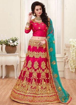 Pink Net Indian Wedding Lehenga Choli