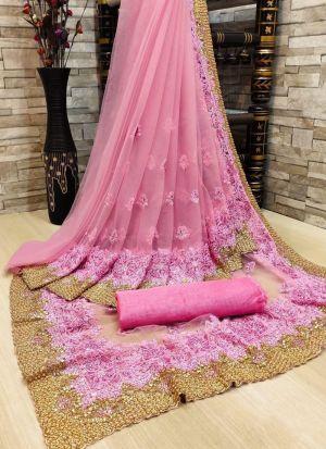 Pink Nylon Net Embroidery Saree