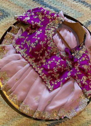 Pink Organza Festive Wear Saree