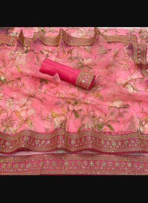 Pink Organza Silk Embroidery Saree