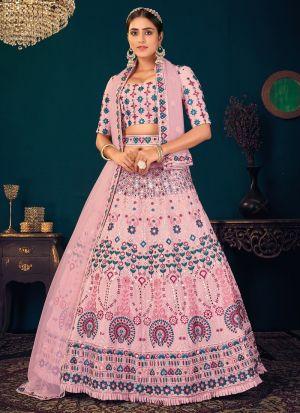 Pink Party Wear Lehenga Choli With Belt