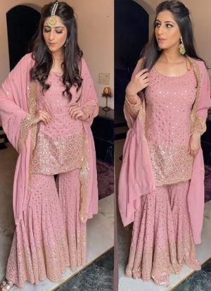 Pink Sharara Suit Designer By Yankita Kapoor