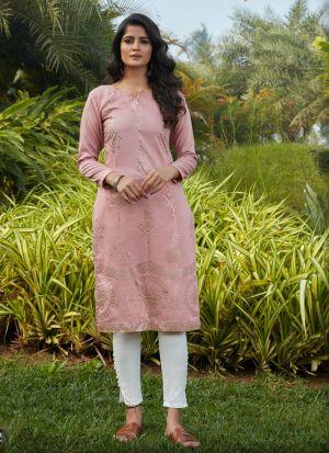 Pink Silky Cotton Long Sleeves Kurti