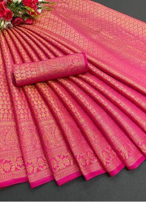 Pink Soft Silk Traditional Saree